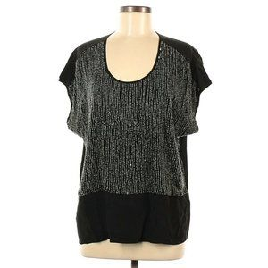 Eileen Fisher M Sequined Rivulet Silk Blouse Top